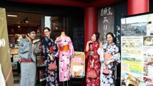 Learning about Traditional Japanese Culture and the Culture of Disaster in a Kimono  (Rental Kimono and Souvenir Furoshiki)